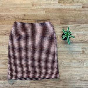 LOFT 2P Wool Houndstooth Pencil Skirt EUC